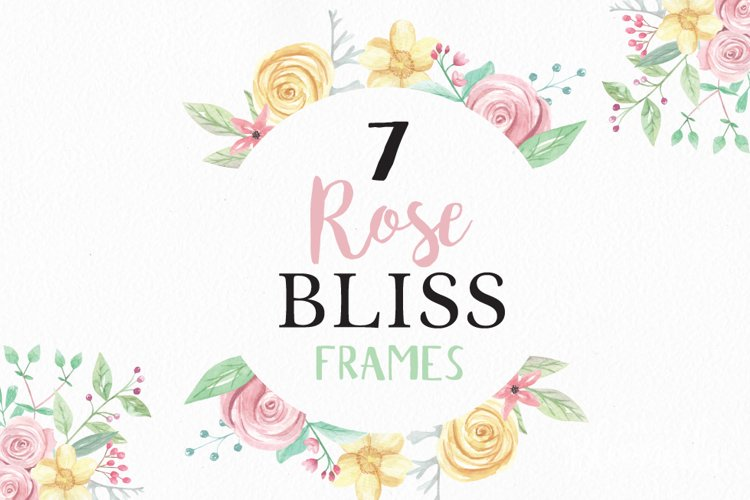 Rose Bliss 7 Frames Watercolor Floral Border Flowers Pink example image 1