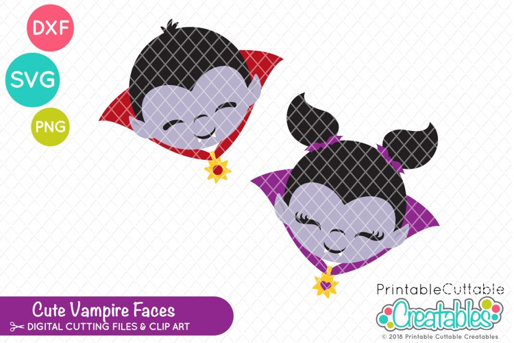Cute Vampire Faces SVG example image 1