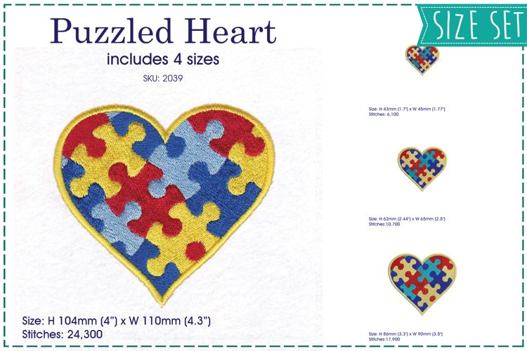 Heart Puzzle Detail Machine Embroidery Design example image 1