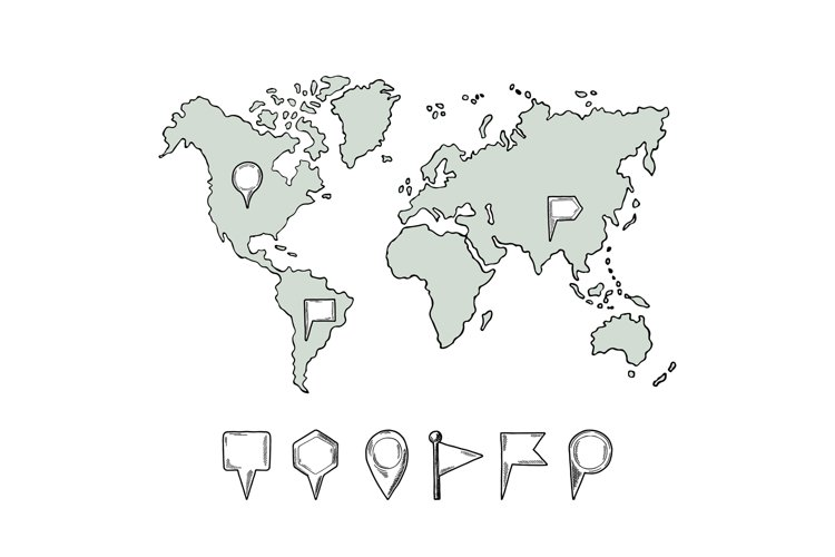 Doodle illustrations of world map with hand drawn pins. Vect