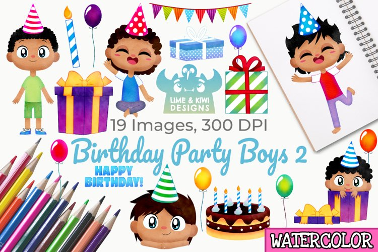 Birthday Party Boys 2 Watercolor Clipart, Instant Download example image 1