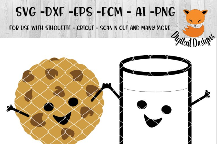 Cookies And Milk SVG - png - eps - dxf - ai - fcm - Power Couple SVG - Silhouette - Cricut - Scan N Cut - Cookie SVG file example image 1