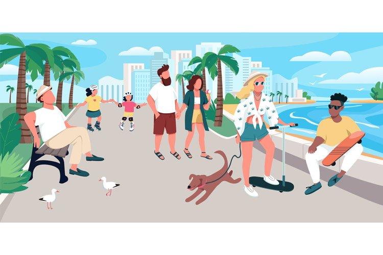 People walking on resort town street vector illustration example image 1