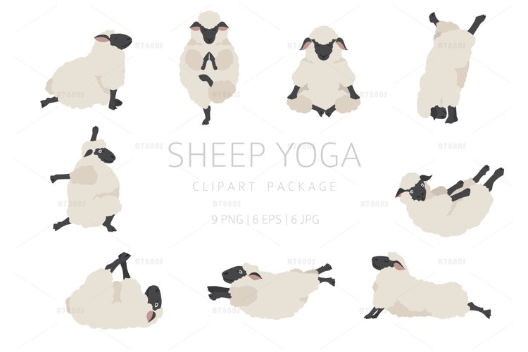 Sheep yoga clipart package