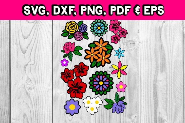 Flower bundle - flower svg - flower silhouette - roses daisy example image 1