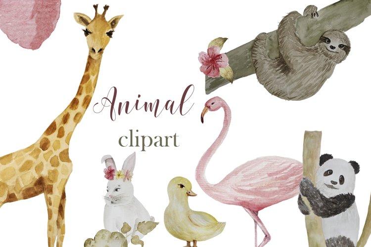 Animal watercolor digital clipart example image 1