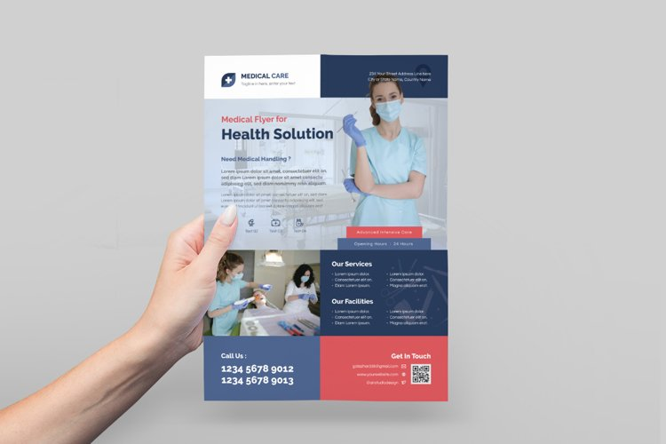 Medical Flyer Design with Blue Color example image 1