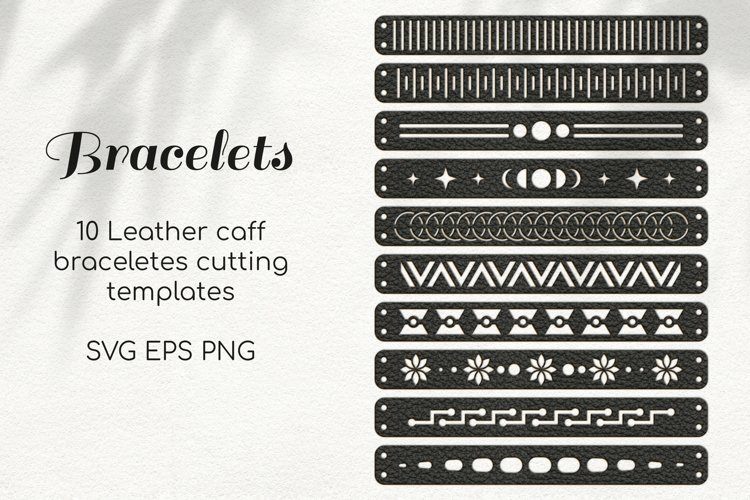 10 Leather Bracelets SVG Template for cutting DIY Jewelry