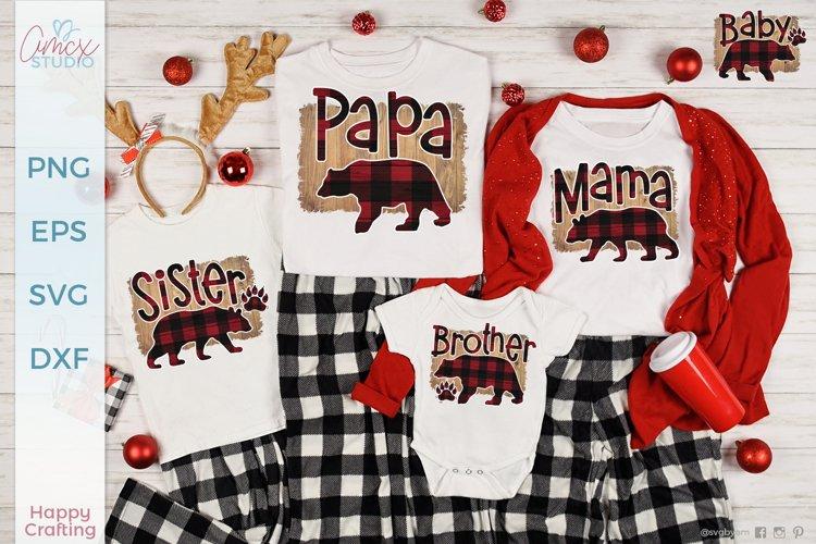 Bear Family Buffalo Plaid Sublimation - Family Bear Designs