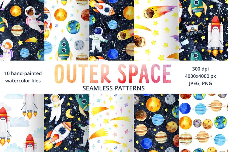 Space & Solar System Seamless Patterns