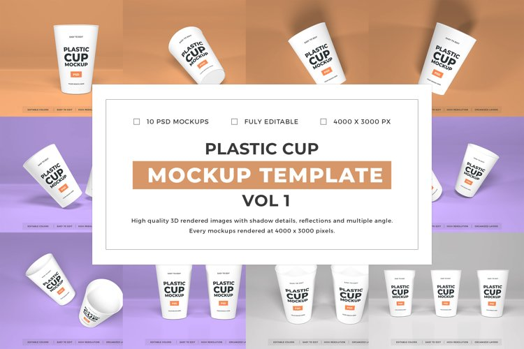 Plastic Cup Packaging Mockup Template Bundle Vol 1 example image 1
