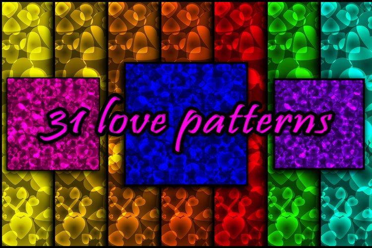 Bright intersecting colored hearts on a sparkling background