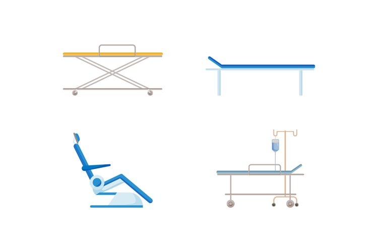 Hospital bed flat color vector object set example image 1