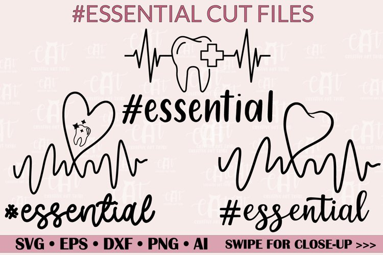 Hashtag Essential SVG, Essential Dental Workers SVG, PNG... example image 1