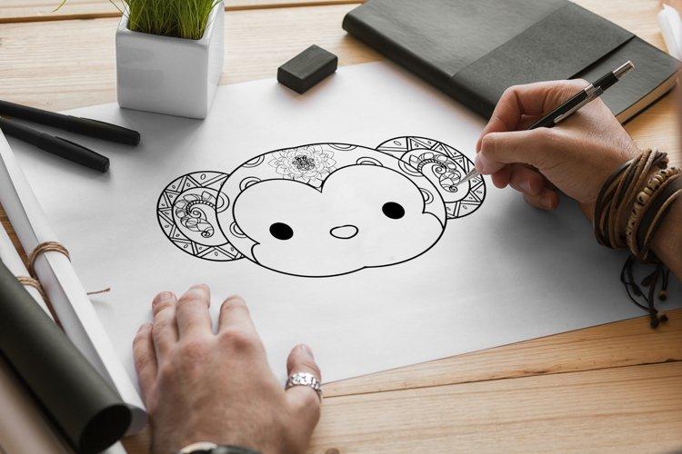Monkey Mandala Coloring Pages