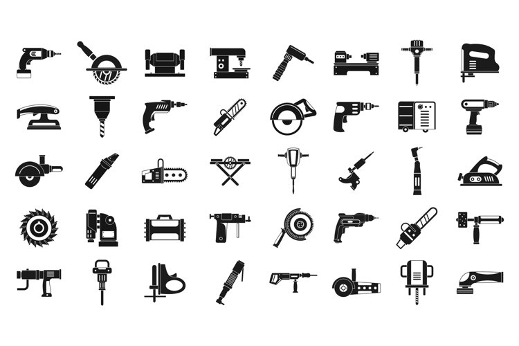 Electric tools icon set, simple style example image 1