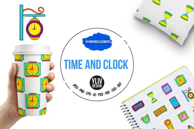 Time and Clock icons set, pop-art style example image 1