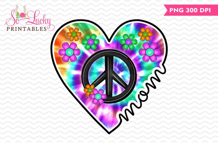 Mom Peace Sign Tie-dyed Heart printable sublimation design example image 1