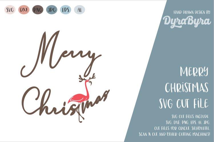 Merry Christmas SVG / Flamingo SVG / Deer SVG / Antlers SVG example image 1