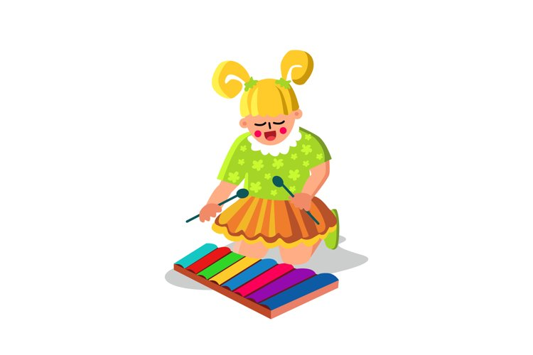 Girl Playing Musical Instrument Xylophone Vector example image 1