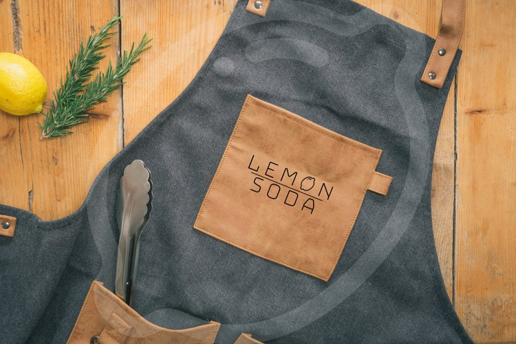 Mockup | leather bbq apron mockup |kitchen apron | logo example image 1