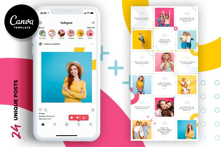 Colorful Instagram Puzzle Template for Canva example image 1