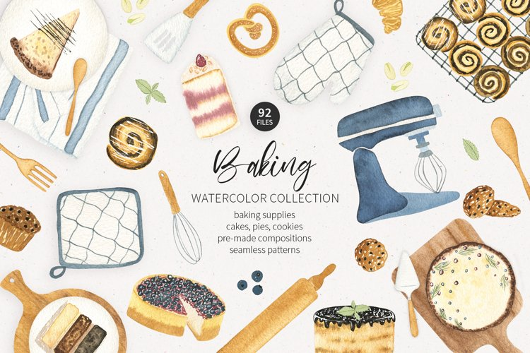 Watercolor baking clipart. Food watercolor clipart.