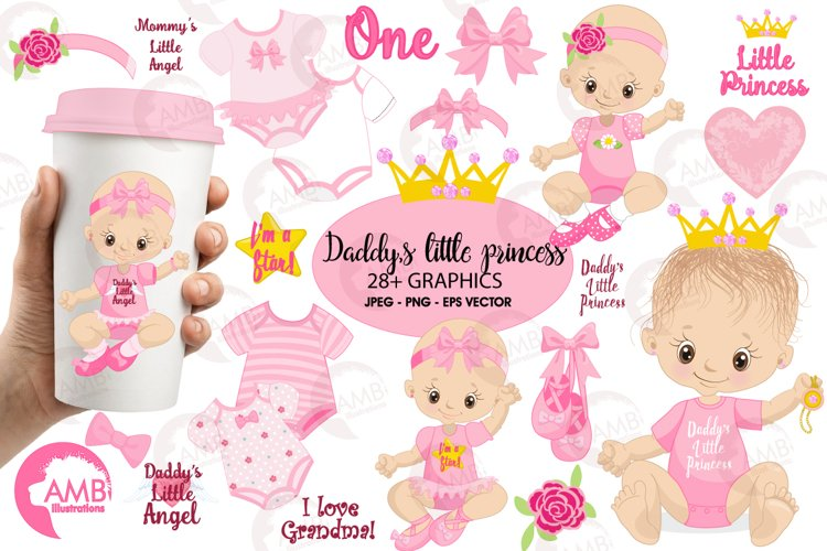 Daddy's little princess clipart, graphics, illustrations AMB-1293 example image 1