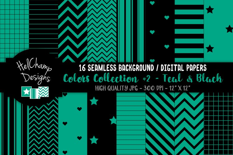 16 seamless Digital Papers - Teal and Black - HC132