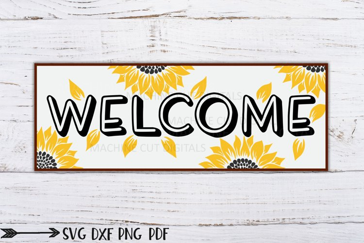 Summer Welcome sunflowers horizontal porch sign svg dxf file example image 1