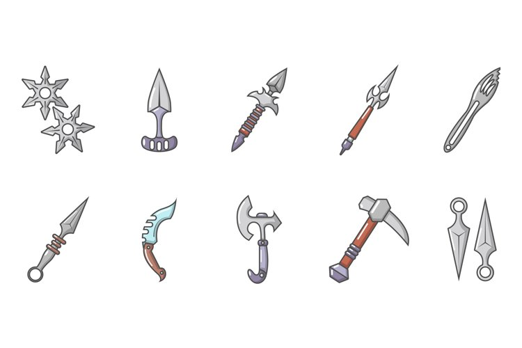 Steel arms icon set, cartoon style example image 1
