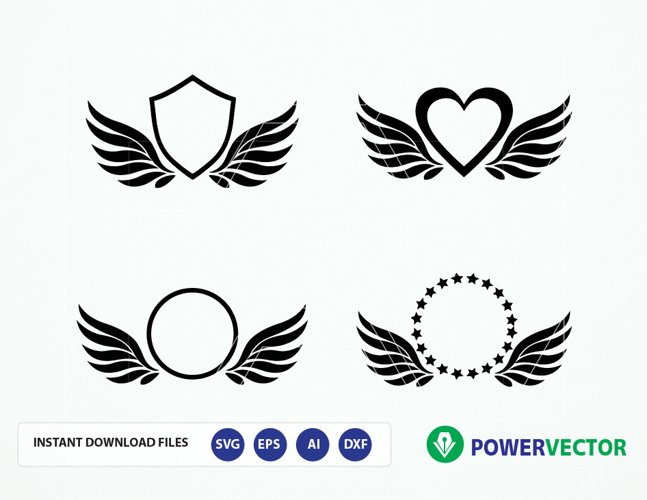 Wings Monogram Frames Digital Cut Files - Svg Ai Dfx Eps Png. Silhouette, Cricut Svg Cutting File. Vector Download - Paper Vinyl Die Cutting example image 1