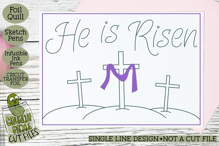 Foil Quill Easter Card - He is Risen / Single Line Sketch