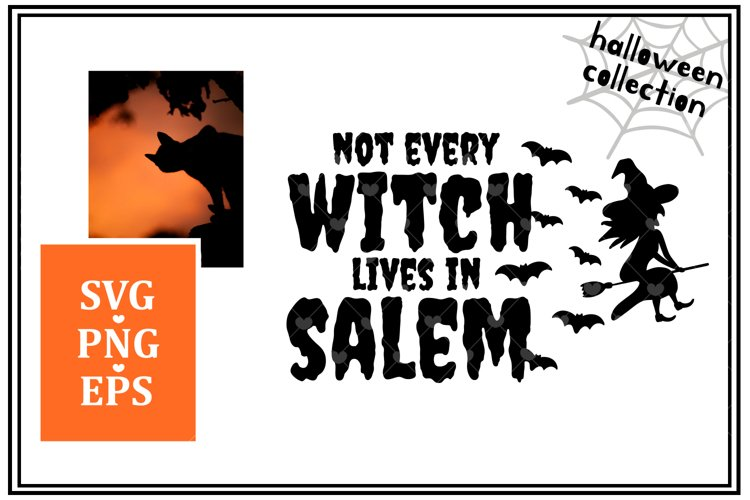 Not every witch lives in Salem.Witch hat, bats and broom.SVG example image 1