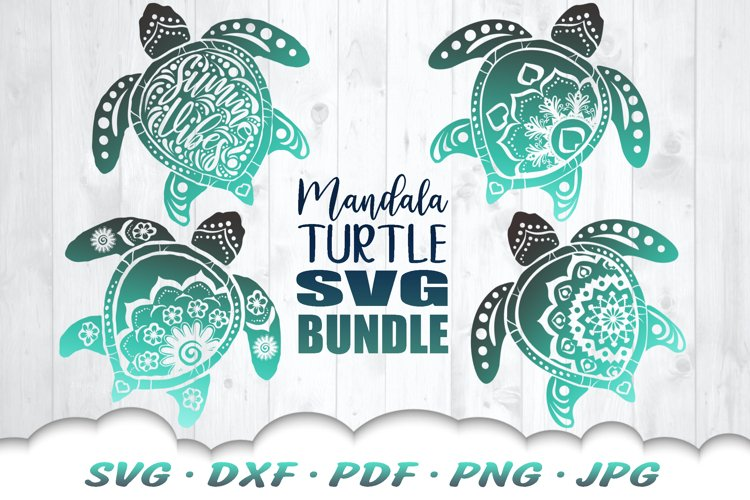 Mandala Sea Turtle SVG DXF Cut Files Bundle