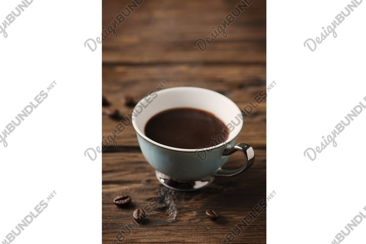 Cup of italian stong coffee espresso on the vintage table example image 1