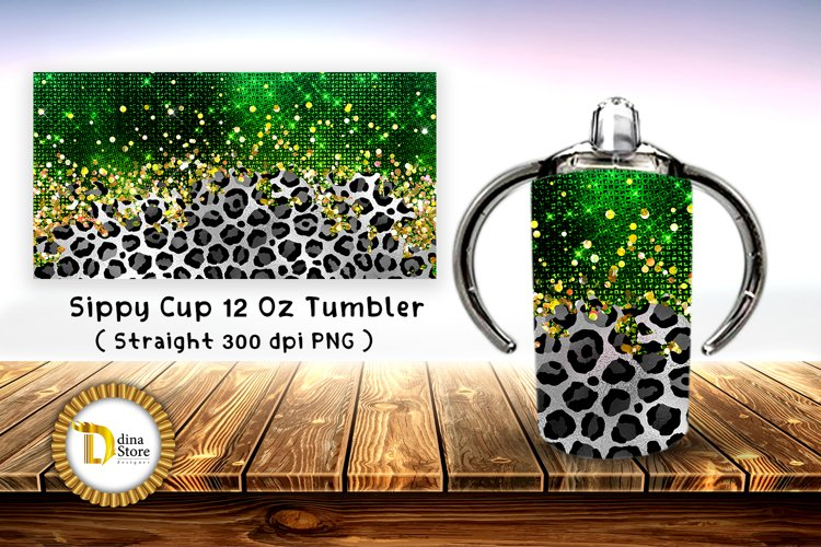 Sublimation Sippy Cup Tumbler leopard with green foil example image 1