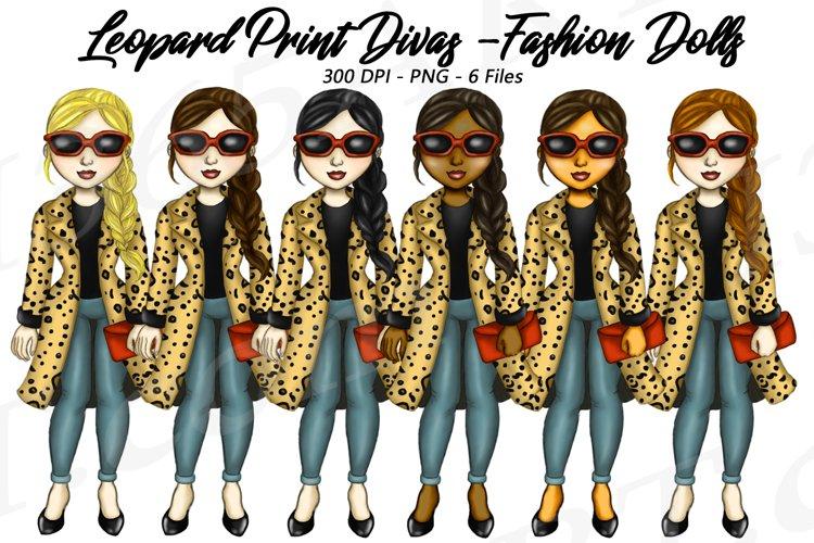 Leopard Print Divas Clipart, Fashion Girls Illustrations, PN example image 1