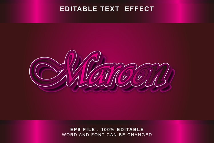 maroon Text Effects editable words and fonts can be replace