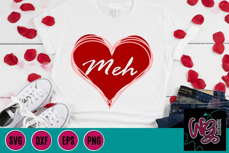 Meh Heart Anti-Valentine SVG, DXF, PNG, EPS