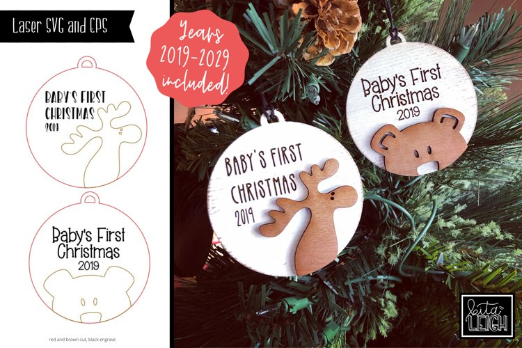 Laser Engraved/Cut Baby's First Christmas 2020 Ornaments SVG example image 1