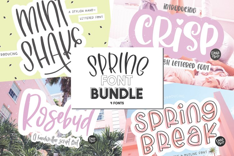 Spring Font Bundle - 4 Hand Lettered Fonts example image 1