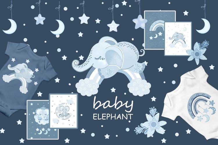 Sleeping blue elephant clipart, nursery print for boys example image 1