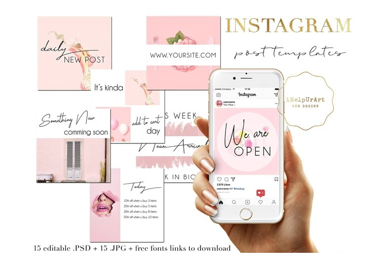 Pink Watercolor Instagram Posts Template example image 1