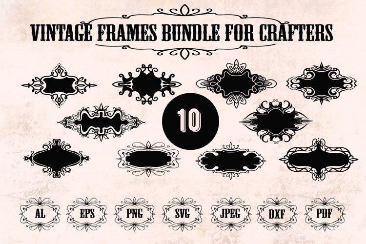 Frame SVG, Vintage frames SVG, Retro frames SVG, PNG, DXF example