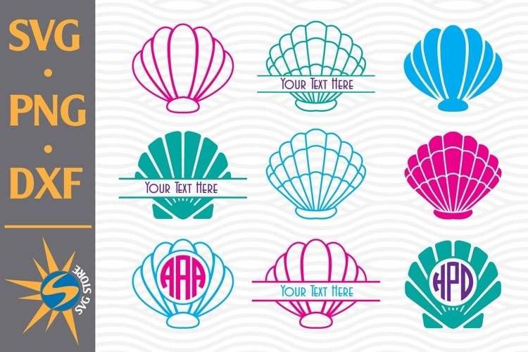 Shell Monogram SVG, PNG, DXF Digital Files Include