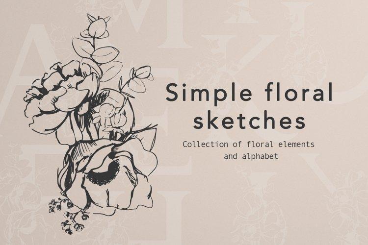 Pencil floral sketches and Alphabet design