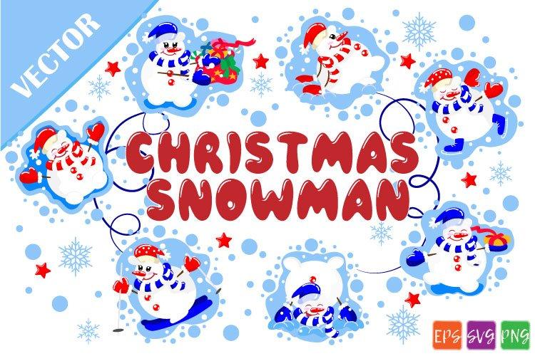 Christmas snowmen SVG example image 1