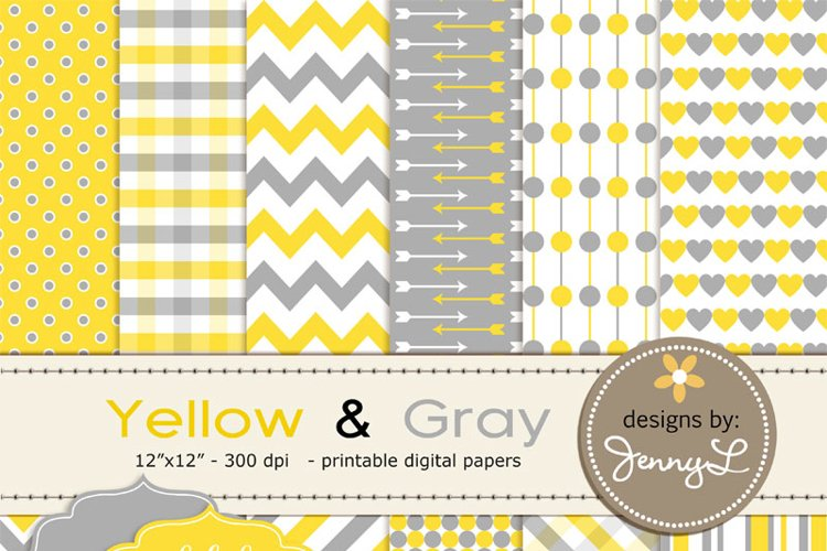 Yellow and Gray Digital Papers example image 1