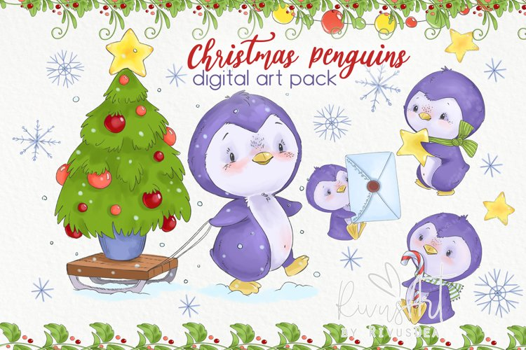 Christmas Penguins clipart pack example image 1